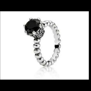 PANDORA SECRET WINDS MELANITE RING W/ BLACK STONE